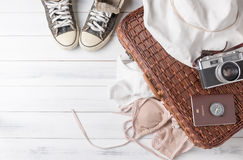 Travel accessories costumes. Passports, luggage, vintage camera Royalty Free Stock Photography