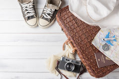 Travel accessories costumes. Passports, luggage, vintage camera, Stock Photos