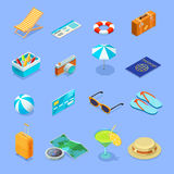 Travel Accessories Isometric Icons Set Royalty Free Stock Image