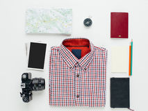 Travel accessories knolling concept Stock Photo