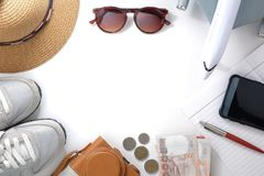 Travel accessories necessary for the holidays. On a white background royalty free stock photo