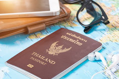 Travel accessories Passport, the cost of travel maps prepared fo Royalty Free Stock Image
