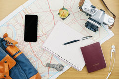 Travel accessories planing on wooden table,Travel trip for holid Stock Images