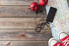 Travel accessories on wood background. Travelling concept image Royalty Free Stock Photography