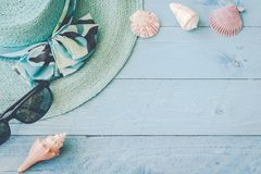 Travel accessories on wooden. Background Royalty Free Stock Images