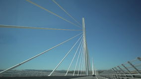 Travel across the Millau bridge. France-Millau Viaduct July 2015: The bridge is the highest in the world. The height of a tower 343 meters stock footage