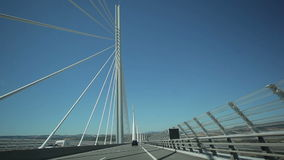 Travel across the Millau bridge. France-Millau Viaduct July 2015: Millau bridge. The bridge is the highest in the world. The height of a tower 343 meters. View stock video