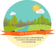 Travel and adventure. Beautiful minimal flat vector illustration. Landscape with trees, river, clouds and the Sun. Stock Photo