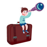 Travel and adventure. Boy are sitting on a bag.  cartoon illustration Royalty Free Stock Photos