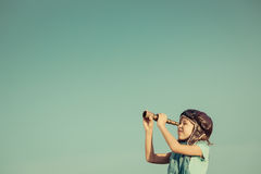Travel and adventure concept. Happy kid playing outdoors. Travel and adventure concept Royalty Free Stock Photo
