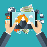 Travel and adventure concept. Holding tablet and taking picture. Travel and adventure concept. Picture and video concept. Flat  illustration Stock Images