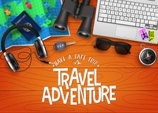 Travel Adventure 3D Realistic Banner Top View with Travelling Items. Like Map, Passport, Binoculars, Laptop, Headset, Sunglasses, Car Key and Compass in Top of royalty free illustration