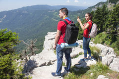 Travel adventure and hiking activity, active and healthy lifestyle on summer vacation and weekend tour Stock Image