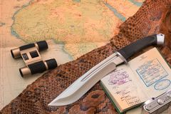 Travel and adventure with knife bowie for adventure and travel with safari in Africa vector illustration