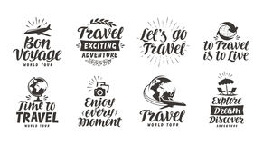 Travel, adventure set icons. Handwritten lettering. Label vector illustration Royalty Free Stock Image