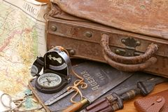 Travel and adventure suitcase. Suitcase and compass for travel and adventure Royalty Free Stock Images