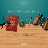 Travel and adventure template, discover your dream Stock Photography