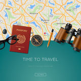 Travel and adventure template, time to travel stock illustration