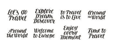 Travel, adventure vector set. Handwritten beautiful calligraphic lettering. Isolated on white background Stock Photos