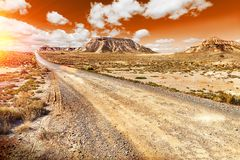 Beautiful desert sunset and road landscape .Sunset scenic Royalty Free Stock Photography