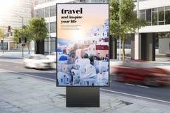 Travel advertisement billboard on city street. Billboard on city street travel advertising 3d rendering royalty free stock photo