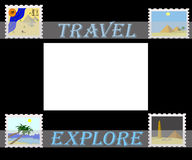 Travel africa. Illustration of egypt pyramids on postage stamps in album Vector Illustration