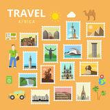 Travel Africa Egypt Pyramid Sphinx collage flat vector Royalty Free Stock Images
