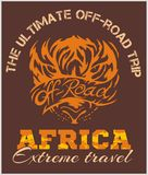 Travel Africa - extreme off-road vector emblem. Stock Images