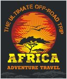 Travel Africa - extreme off-road vector emblem. Travel Africa - African landscape vector emblem Royalty Free Stock Images