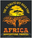 Travel Africa - extreme off-road vector emblem. Stock Photography