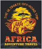 Travel Africa - extreme off-road vector emblem. Travel Africa - rhino 4x4 vector emblem Stock Illustration