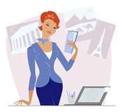 Travel agency. Girl in her work place Royalty Free Illustration