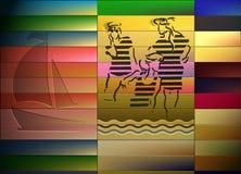 Travel agency. Retro a card - travel, the sea, a sailing vessel Stock Photos