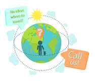 Travel agency advert landing page banner. A tourist questioning where to fly or go next. Call us bubble and a world globe in front of traveller with a luggage stock illustration