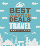 Travel agency. Banner best vacation deals for traveling with architectural landmarks Royalty Free Stock Photo