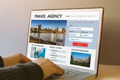 Free Travel Agency Concept On Laptop Computer Screen Stock Image - 107810961