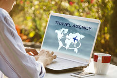 Travel agency. Hands looking for agency of trips online, travel agency Royalty Free Stock Photos