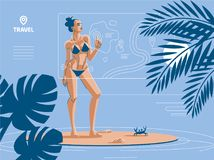A woman on the beach, in summer, in a swimsuit. stock illustration