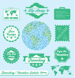 Travel Agency Labels and Stickers. Collection of vintage style travel agency  labels and badges Stock Images