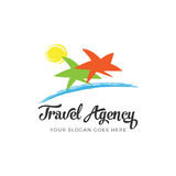Travel agency logo. Abstract illustration of a tropical beach landscape that can be used for a logo or as isolated graphic element Stock Photography