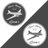 Travel agency logo. old retro vintage piston engine airplane vector illustration. Retro piston engine airplane vector travel agency logo Stock Image