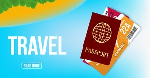 Travel agency promo banner. Poster design with passport, and tickets. Vector background. stock illustration