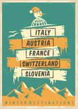 Travel agency retro promo poster design with popular winter destinations. Winter vacation vector ad template. Vintage flyer royalty free illustration