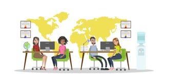 Travel agency room. vector illustration