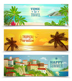 Travel agency tropical paradise vacation banners. Summer vacation horizontal banners set with tropical beach sunset ocean water reflection  flat abstract vector Royalty Free Stock Photo