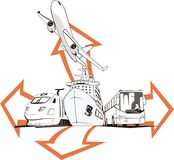 Travel agensy sign. Transportation passenger by all means of transport with arrows Stock Images