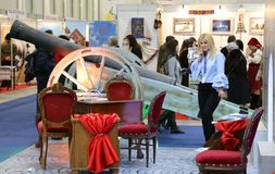 Travel agent at National Tourism Fair of Romania, 2018 Stock Photo