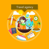 Travel Agent with Tickets in Hands Types of travel Stock Photography