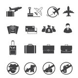 Travel and Air transportation icons set Stock Images