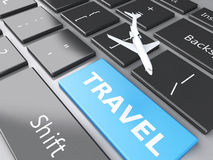 Travel and airplane on computer keyboard. Travel concept. 3d renderer illustration. airplane and travel on computer keyboard. Travel concept Royalty Free Stock Photo